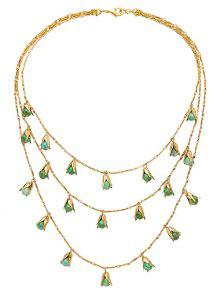 Buy Vintage Alloy Beads Layered Necklace - GREEN