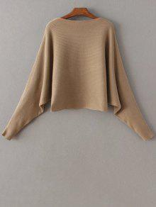 821c3bf655f 33% OFF  2019 Batwing Sleeve Boat Neck Sweater In KHAKI