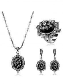 Bijoux Strass Géométrique Vintage Set - Noir
