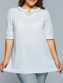 V Neck Half Sleeve Plus Size Top - Blanc Xl
