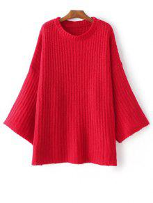 Casual Flare Sleeve Sweater - Red