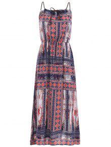 Gathered Neckline Maxi Dress - M