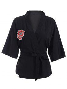 Embroidered Belted Kimono - Black Xl