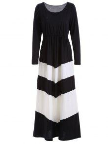 Color Block Long Sleeve Maxi Dress - White And Black L
