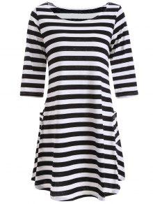 A Line Striped Dress With Pocktes - White And Black S