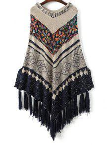 V Neck Jacquard Knit Poncho With Tassels - Off-white