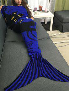 سوبر لينة الاكريليك محبوك هالوين حورية البحر الذيل بطانية - مزرق اللون البنفسجي L