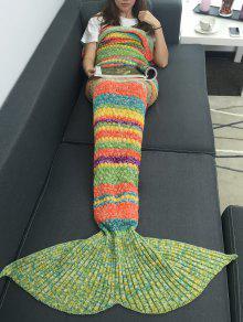 الدفء الملونة مخطط الاكريليك الحياكة حورية البحر بطانية - W31.50inch * L70.70inch