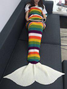 قوس قزح اللون الكروشيه الحياكة حورية البحر الذيل تصميم بطانية - W31.50inch * L70.70inch