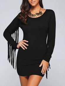 Long Fringe Bodycon Dress - Black S
