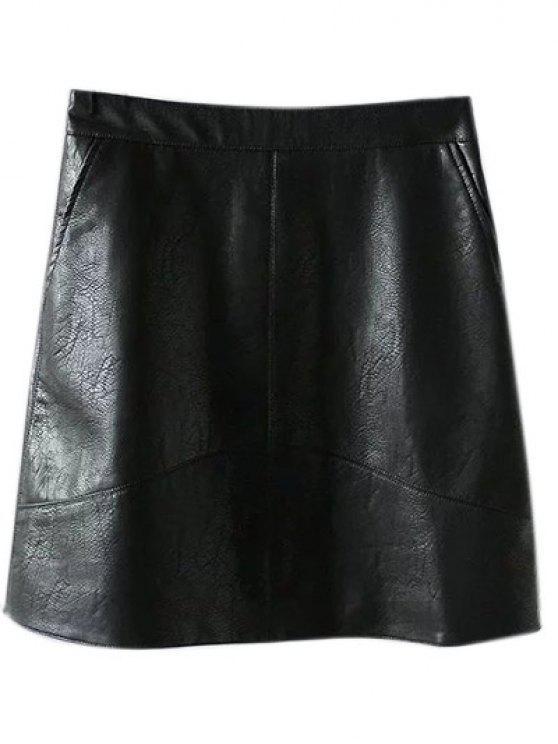 Una línea de cuero de la PU mini falda - Negro XS