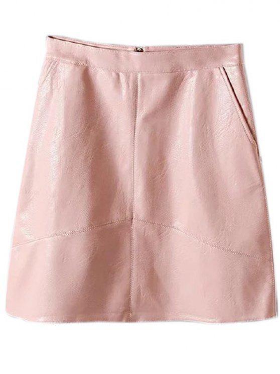 Una línea de cuero de la PU mini falda - Rosa M