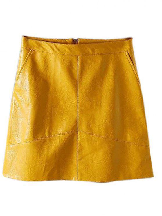 fashion A Line PU Leather Mini Skirt - YELLOW L