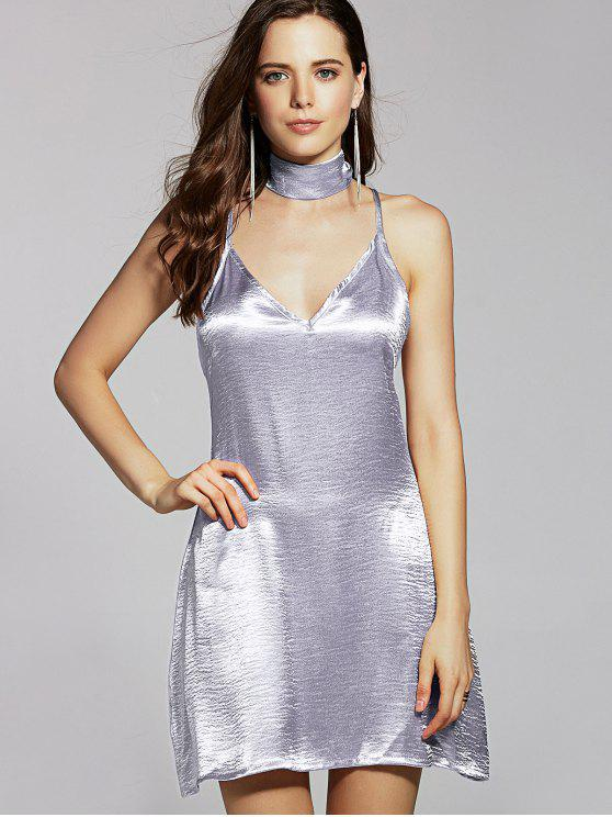 online Pure Color Cami Satin Dress - SILVER S
