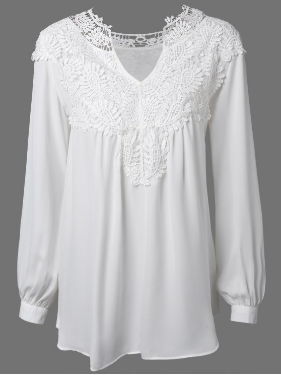 women Crochet Floral Long Sleeve Blouse - WHITE M