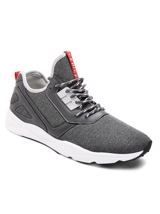 اللون كتلة بو الجلود إدراج أحذية رياضية - الرمادي العميق 42