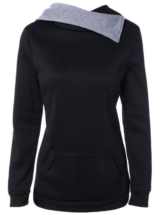 هوديي بلوفر تصميم جيب الجبهة - أسود XL