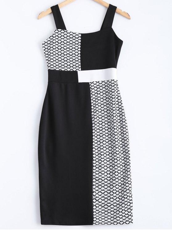 فستان ضيق مربع الرقبة - أبيض وأسود L