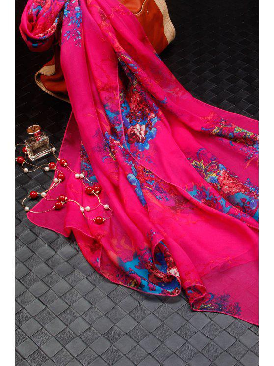 ladies Casual Flowers Cluster Print Chiffon Scarf - ROSE RED M