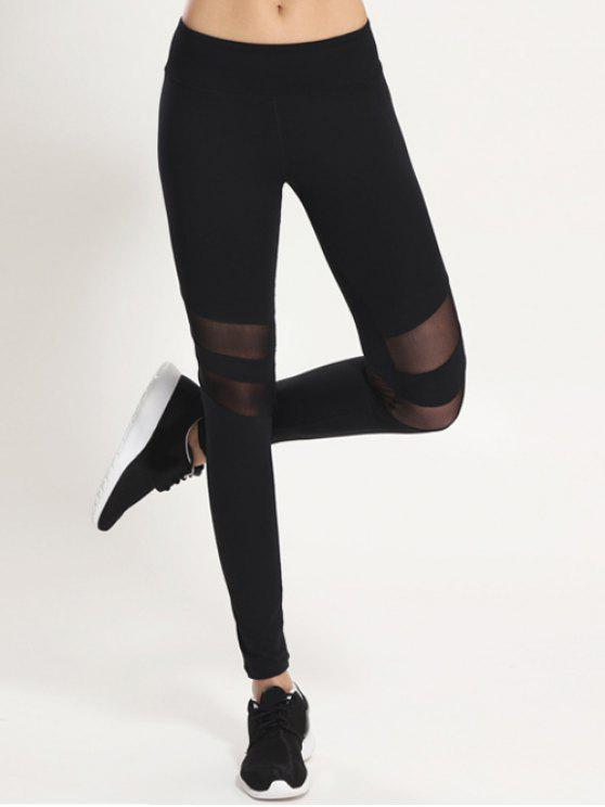 lady Mesh Panel Leggings - BLACK L