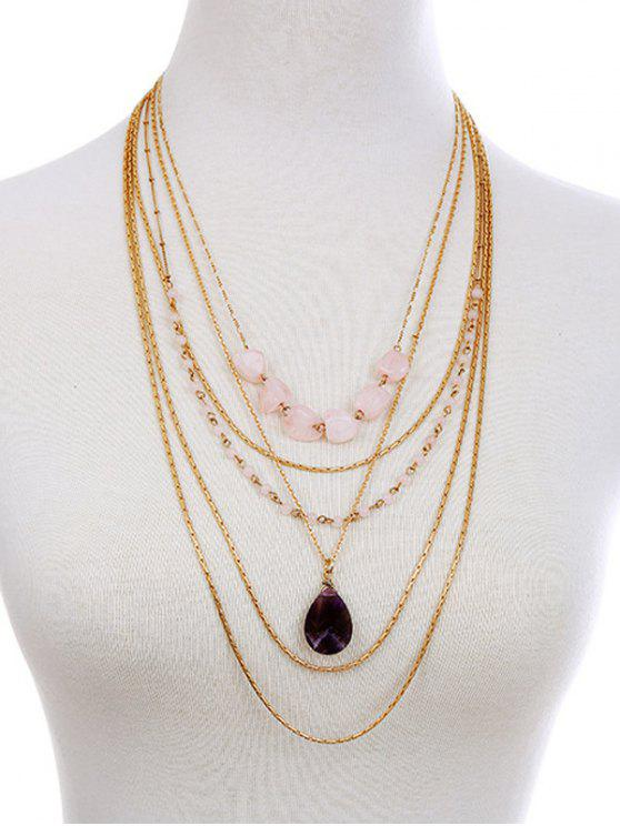 Collier avec pendentif Teardrop Layered Gemstone artificielle - Or