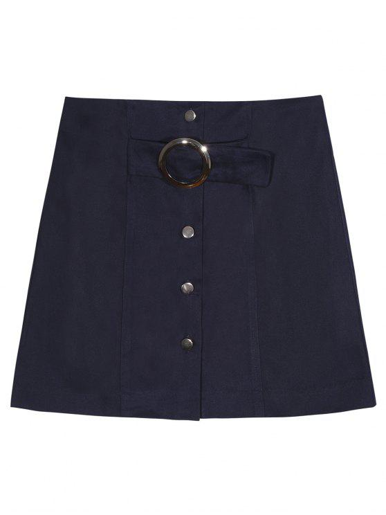lady A Line Single-Breasted Skirt - PURPLISH BLUE M