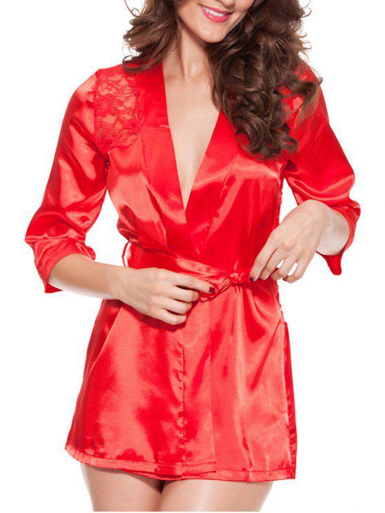 Cortar la ropa interior empalmada del cordón del abrigo - Rojo 3XL
