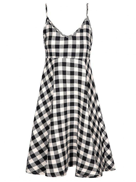 fancy Checked Cami Dress - PLAID 2XL