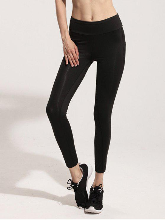 women Mesh Panel Gym Leggings - BLACK M