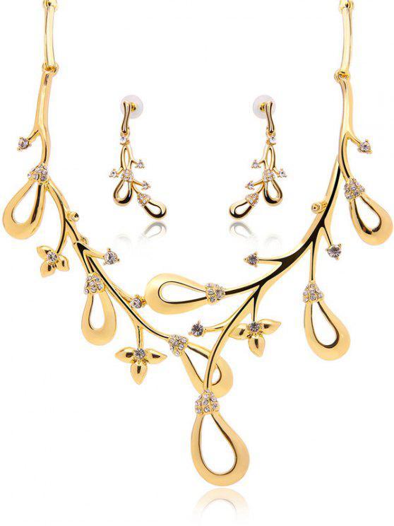 women Rhinestone Branch Jewelry Set - GOLDEN