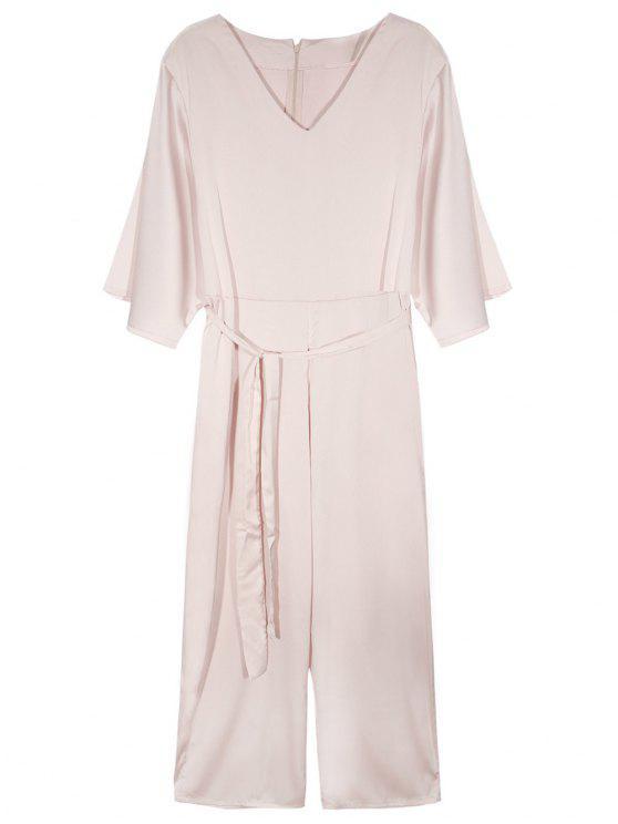 shops Flare Sleeve Belted Jumpsuit - NUDE PINK M