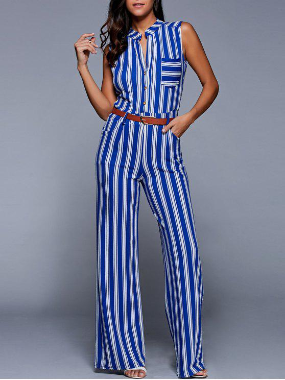 sale Striped Belted Plunging Neck Sleeveless Jumpsuit - BLUE M