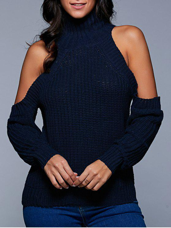 latest Stand Neck Cold Shoulder Sweater - PURPLISH BLUE ONE SIZE