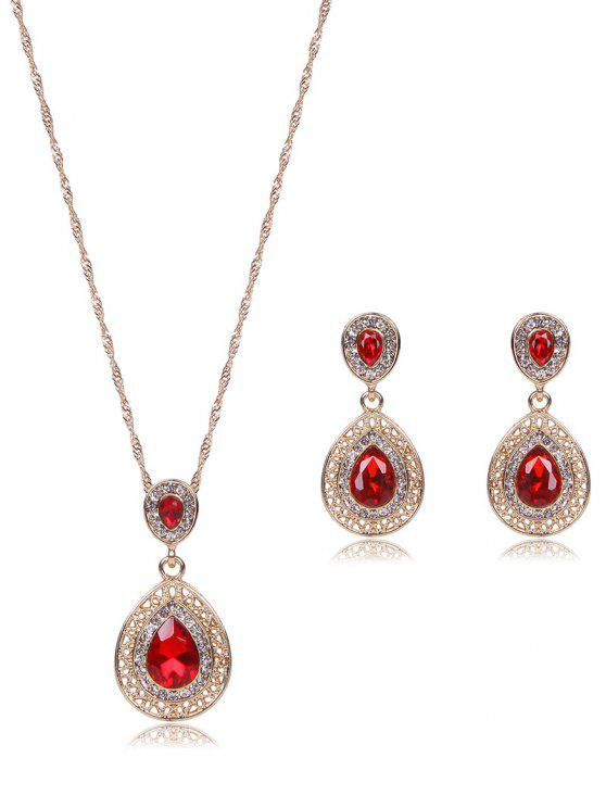 outfits Teardrop Faux Ruby Jewelry Set - RED