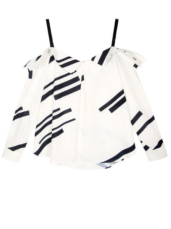 lady Long Sleeve Color Block Cold Shoulder Blouse - WHITE S
