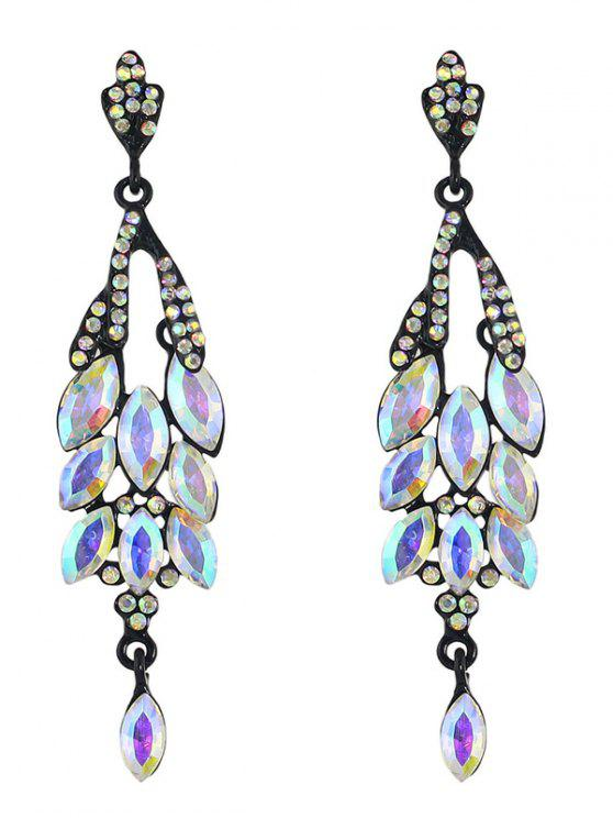 shops Vintage Faux Gem Rhinestone Layered Earrings - BLACK