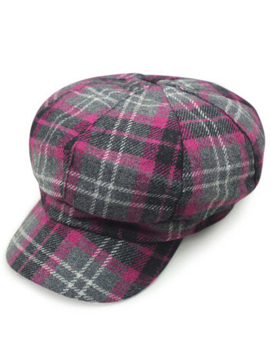 hot Tartan Newsboy Hat - ROSE RED