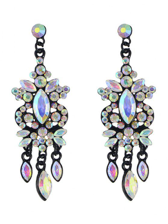 trendy Faux Gem Rhinestone Layered Drop Earrings - BLACK
