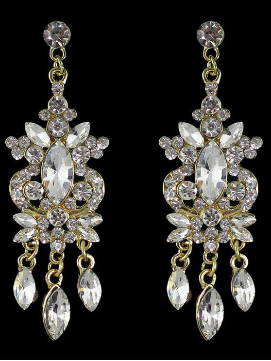 fashion Faux Gem Rhinestone Layered Drop Earrings - GOLDEN