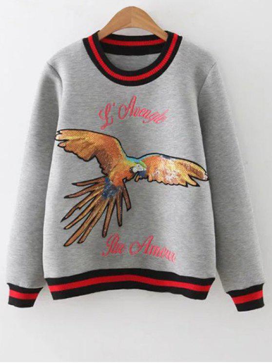 Lentejuelas camiseta bordada - Gris S
