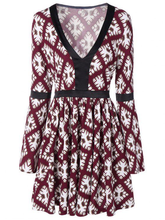 shops Deep V Neck Long Sleeve Skater Dress - RED WITH WHITE M