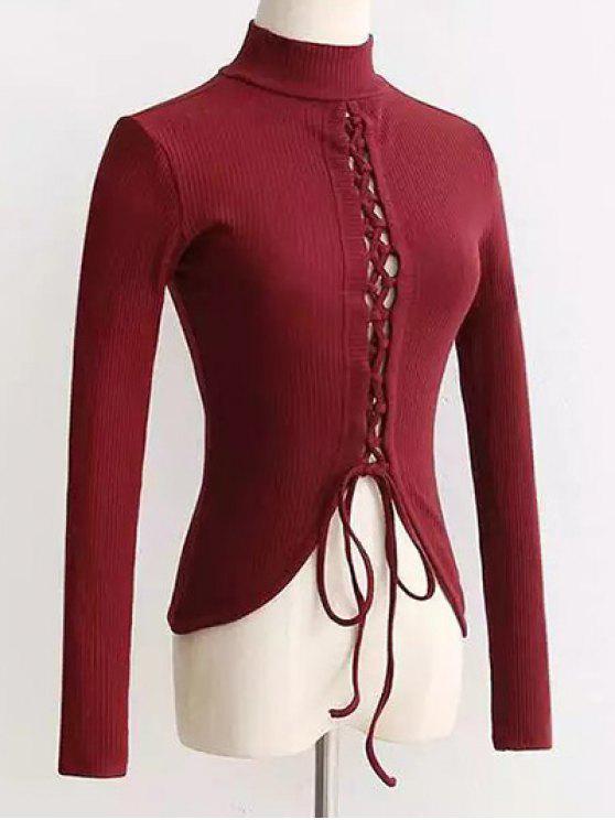 لباس المحبوك رباط عالية الرقبة طويلة الأكمام - نبيذ أحمر S