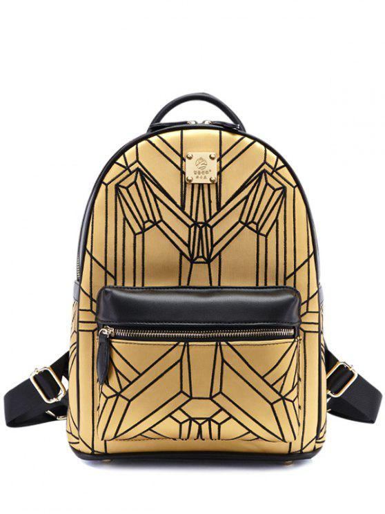 32% OFF  2019 Embroidery Geometric Pattern PU Leather Backpack In ... 0a2efa7edbac3