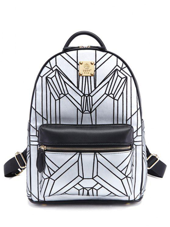 chic Embroidery Geometric Pattern PU Leather Backpack - SILVER AND BLACK
