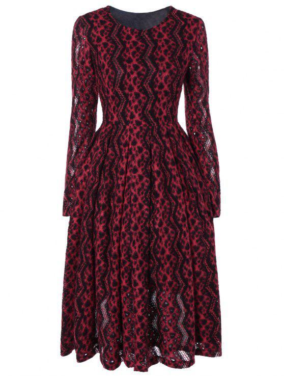 فستان شيفرون مخطط طويلة الأكمام - أحمر M