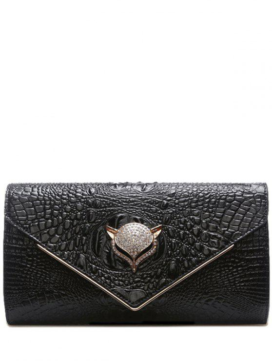 Strass Embossing PU Leather Bolsa de festa - Preto