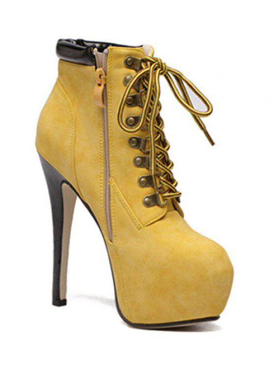 lady Platform Stiletto Heel Lace-Up Ankle Boots - YELLOW 40