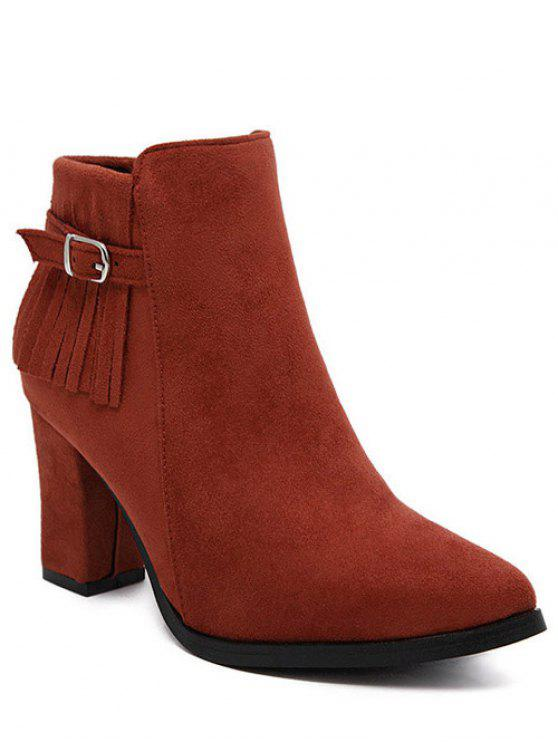 affordable Fringe Pointed Toe Chunky Heel Ankle Boots - RED 38