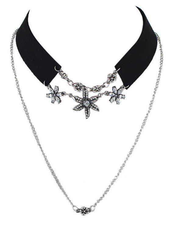 Diamantes de imitación de imitación de terciopelo de cuero flor Gargantilla - Negro