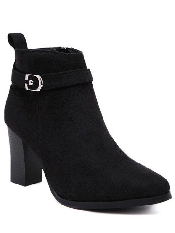 latest Flock Buckle Chunky Heel Boots - BLACK 39